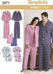 Simplicity 3971. Unisex Pajamas and Knit Tank Top.