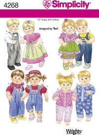 Simplicity 4268. Doll Clothes, overalls, dresses.