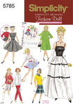 Simplicity 5785. Doll Clothes, 1960ies, 11½ inch doll.