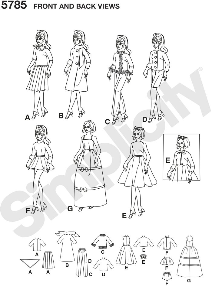Simplicity Archives 1960´s  Wardrobe for 11 1/2 Inch Fashion Dolls