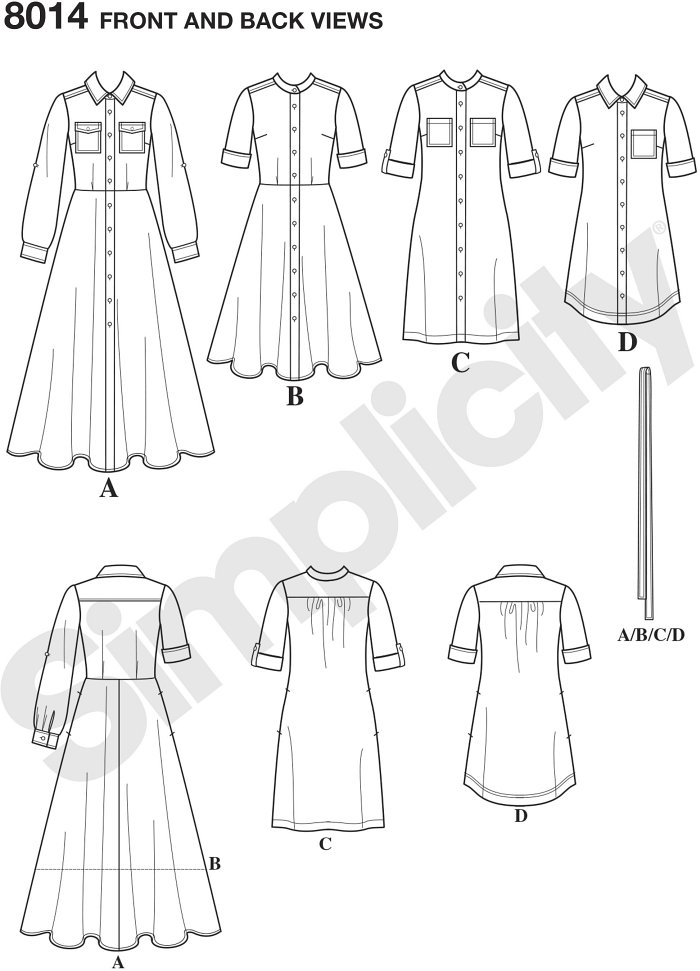 Vintage shirt dress pattern for miss and miss petite features full length dress with collar and long sleeves, knee length dress with slim or flared skirt, and mini dress with collar and shirt tail hem.