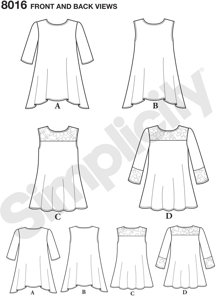 This easy to wear top pattern for misses can be high-low in knit or stretch lace with or without half sleeves. Top can also have lace yoke with optional 3/4 sleeves with lace band. Simplicity sewing pattern.