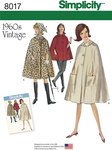 Simplicity 8017. Misses´ Vintage 1960´s Cape in Two Lengths.