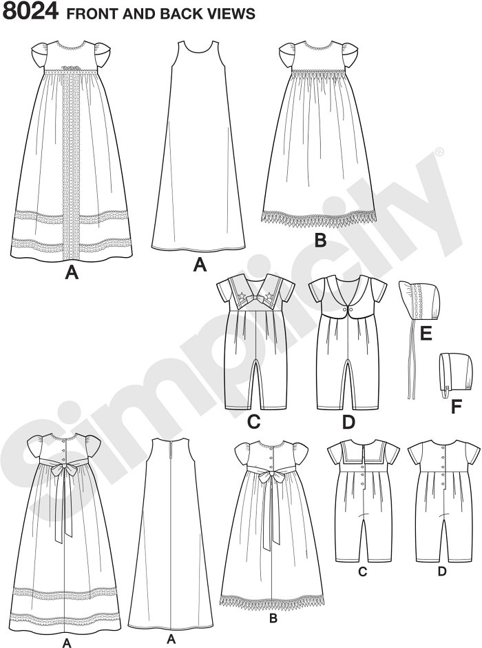"Keep tradition alive, or start a new tradition with these classic christening gowns and one piece suits. Bonnets in two styles also included in S(17""), M (18"") and L(19""). Simplicity sewing pattern."