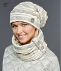 Misses´ cold weather accessories from Elaine Heigl feature slouchy hats with button and brim options, and scarves and cowls also with button options. View D also features matching boot covers. Simplicity sewing pattern.