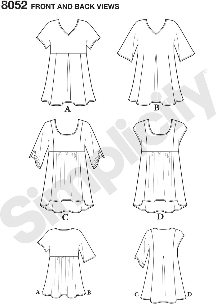 Misses top features v neck with cap sleeve in two lengths, front inverted pleat, and optional contrast fabrics, or scoop neck top with contrast side panels in sleeveless or with half sleeve. Simplicity sewing pattern.