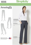 Simplicity 8056. Amazing Fit Miss and Plus Size Flared Trousers or Shorts.