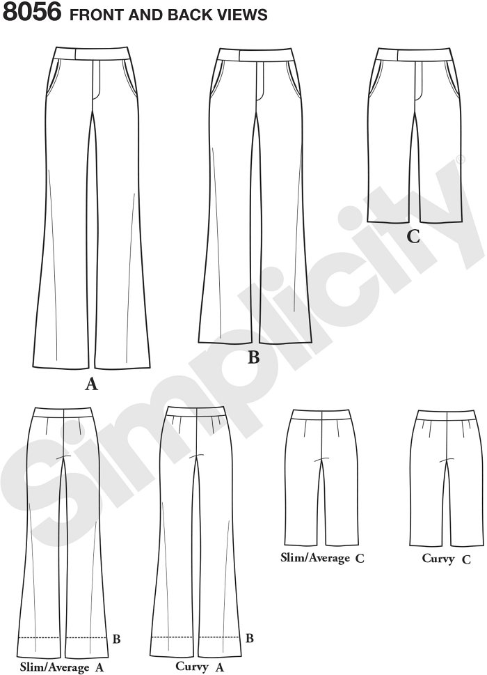 Miss and plus size Amazing Fit wide leg  Trousers in full length, cropped and to the knee shorts that feature fly front zip and separate pattern pieces for slim, average and curvy fit. Simplicity sewing pattern.