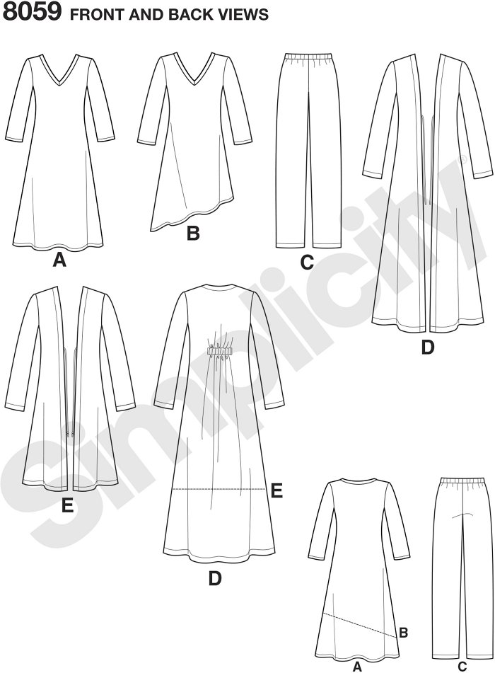 This versatile pattern sized XXS to XXL features a long duster, knee length cardigan, pull on Trousers and knit dress or asymmetric tunic. American Sewing Guild pattern collection by Simplicity.