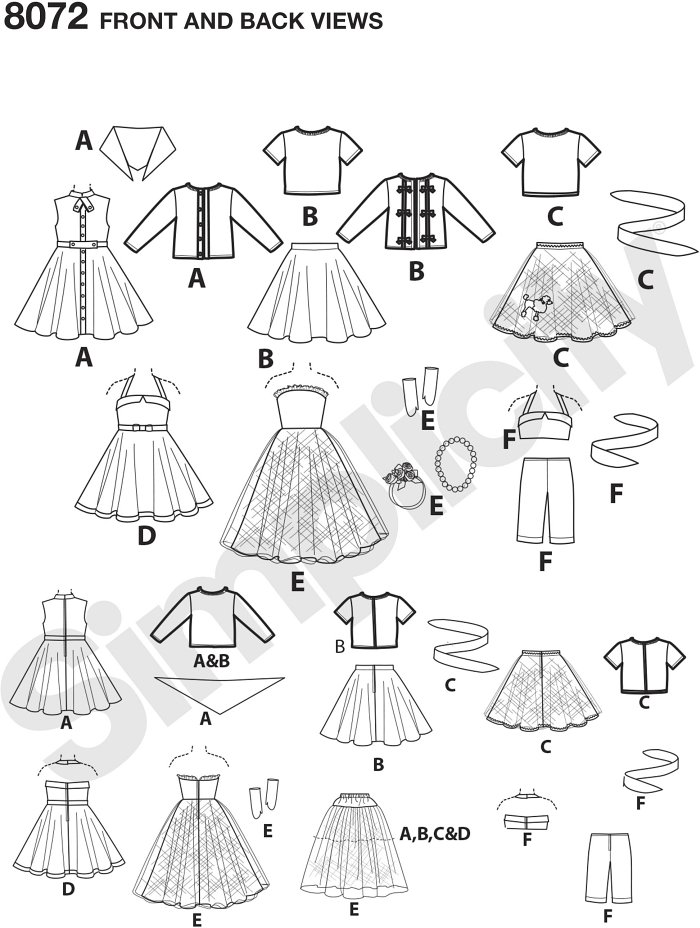 """With this pattern for 18"""" dolls, you get an outfit for every occasion. Pattern includes dress in two styles, jumpsuit, skirt, top, cardigan and ball gown. Elaine Heigl Designs."""