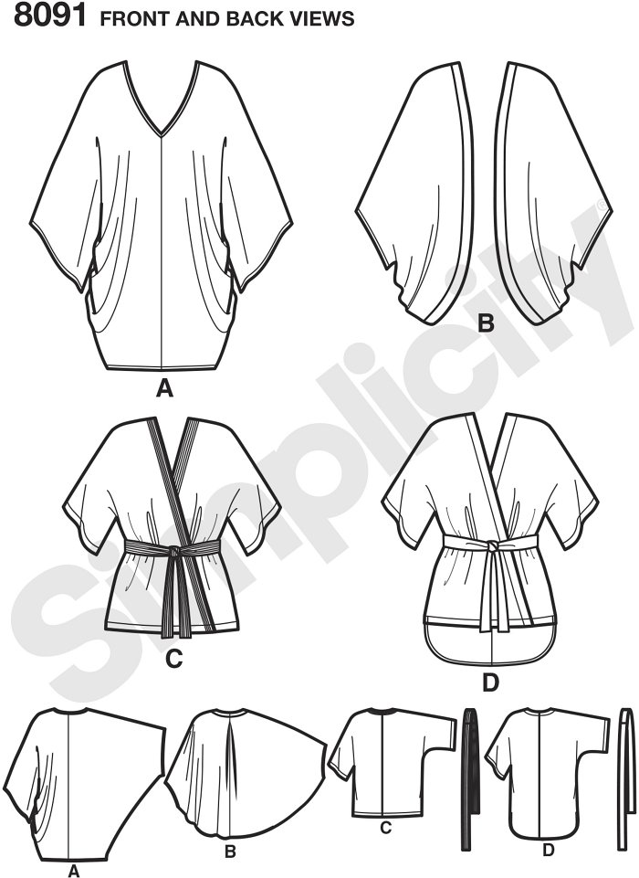 Misses´ kimono pattern sized XXS-XXL features wrapped kimonos with contrast band and belt, or shirttail hem, open front kimono, and cocoon shaped kimono that pulls over head, and has elastic hem.