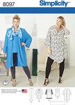 Simplicity 8097. Plus size tunic, top, kimono and knit leggings.
