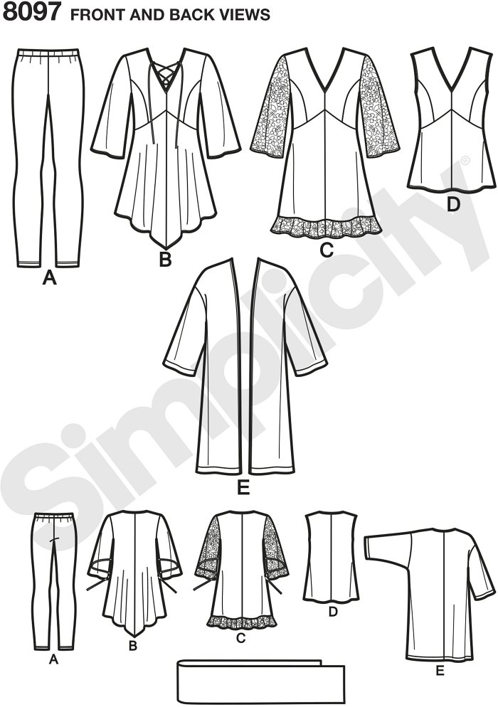 Plus size pattern tunic in two lengths with lace sleeve and flounce or asymmetric and ties, a sleeveless top, long kimono style jacket , knit leggings and scarf. Tops have separate pattern pieces for B, C, D, DD cup sizes.