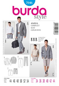 Suit, shorts, shirt etc. for men. Burda 7046.
