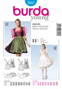 Dirndl folklore robe or dress, lacing and zipper. Burda 7057.