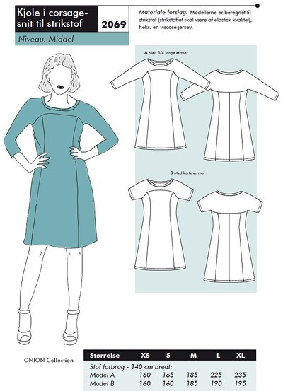 Dress in corsage-cut for knits