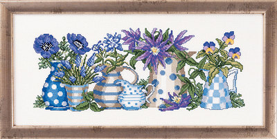 Wall embroidery vases and pitchers with flowers