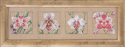 Wall embroidery with orchids
