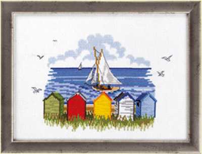 Wall embroidery sail ships seen from shore