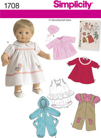 15 inches Baby Doll Clothes. Simplicity 1708.
