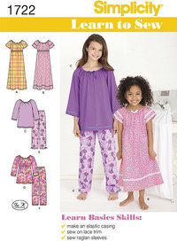 Learn to Sew Child´s and Girl´s Loungewear. Simplicity 1722.