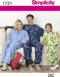 Child´s, Teens´ and Adults´ Fleece Jumpsuit. Simplicity 1731.
