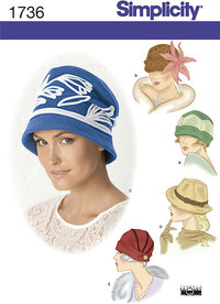 Misses´ hats in three sizes. Simplicity 1736.