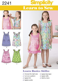 Learn to Sew Childs and Girls Dresses. Simplicity 2241.