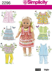 Doll Clothes, dresses, skirts. Simplicity 2296.