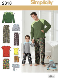 Boys´ and Men´s Loungewear and Dog Top. Simplicity 2318.