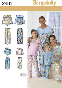 Adult/Teen/Child Sleepwear. Simplicity 2481.