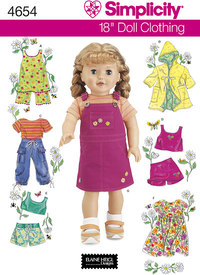 Doll Clothes, bibs, coats, shorts, dresses. Simplicity 4654.