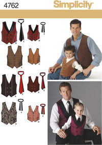 Boys and Men Vests and Ties. Simplicity 4762.