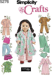 Doll Clothes, Sleepwear and Loungewear. Simplicity 5276.