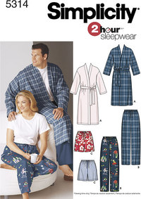Misses´ and Men´s Plus Size Sleepwear. Simplicity 5314.