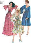 These nostalgic faux wrap front dresses from the 1970´s are a must have. Dresses can be made in two lengths, and are lined with either bishop or bell sleeve, and sash. Vintage Simplicity sewing pattern.