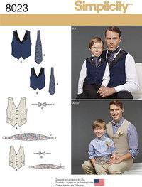 Boys and Mens Vest, Bow-tie, Cummerbund and Ascot. Simplicity 8023.