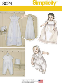 Babies´ Christening Sets with Bonnets. Simplicity 8024.