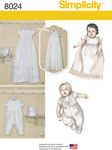 """Keep tradition alive, or start a new tradition with these classic christening gowns and one piece suits. Bonnets in two styles also included in S(17""""), M (18"""") and L(19""""). Simplicity sewing pattern."""