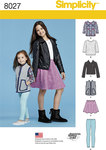 Get a variety of must have wardrobe pieces in this pattern for child and girl. Pattern includes, moto jacket, vest, 3/4 sleeve tee with lace option, skater skirt and pull on leggings. Simplicity sewing pattern.