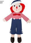 """Simplicity Pattern Raggedy Ann and Andy Dolls in sizes 15"""", 26"""" and 36"""" also includes patterns for doll dress, pinafore, panties, overall and hat."""