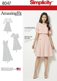 Amazing Fit Misses Dress in Slim, Average and Curvy Fit. Simplicity 8047.