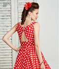 These Rockabilly dresses with full skirts in misses and plus sizes feature sweetheart neckline with thick straps that cross in the back and round neckline with partially opening at back.