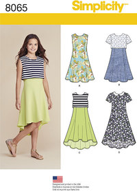 Girls´ and Girls´ Plus Dress or Popover Dress. Simplicity 8065.