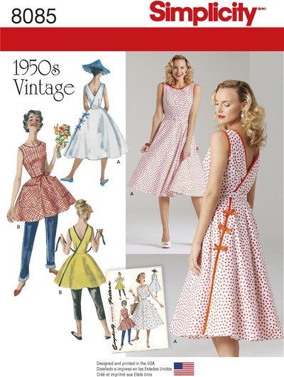 Misses´ Vintage 1950´s Wrap Dress in Two Lengths