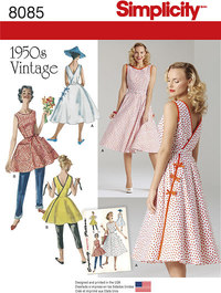 Misses´ Vintage 1950´s Wrap Dress in Two Lengths. Simplicity 8085.