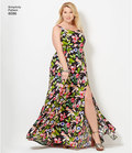 Plus size dress from Simplicitys Amazing Fit collection has strap and length variations, individual pattern pieces for B, C, D, DD cup sizes. Make in cotton print for day or use lace overlay for a special occasion.