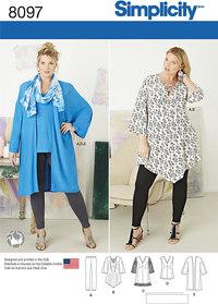 Plus size tunic, top, kimono and knit leggings. Simplicity 8097.