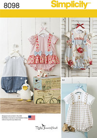 Babies´ Rompers, Sandals, and Stuffed Duck. Simplicity 8098.