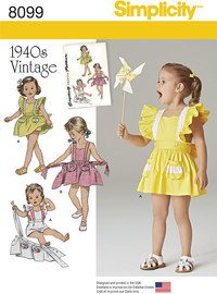 Toddlers´ Romper and Button-on skirt. Simplicity 8099.
